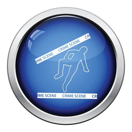 crime scene: Crime scene icon. Glossy button design. Vector illustration.