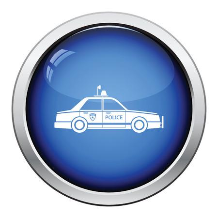 wheel guard: Police car icon. Glossy button design. Vector illustration. Illustration