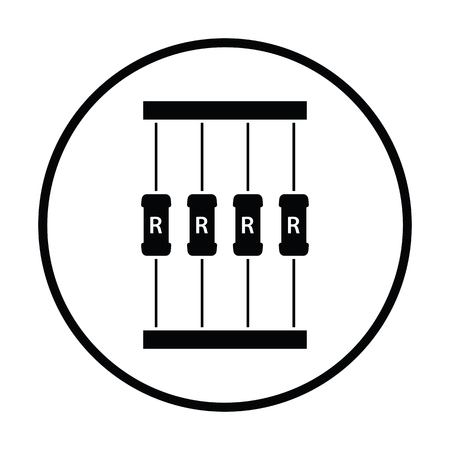 Resistor tape icon. Thin circle design. Vector illustration. Illustration