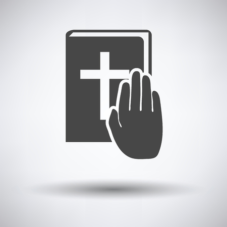 swear: Hand on Bible icon on gray background with round shadow. Vector illustration.
