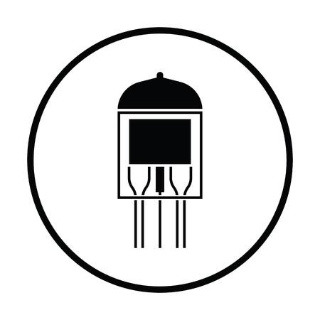 triode: Electronic vacuum tube icon. Thin circle design. Vector illustration. Illustration