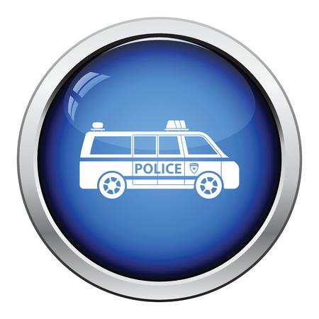 highway patrol: Police van icon. Glossy button design. Vector illustration.