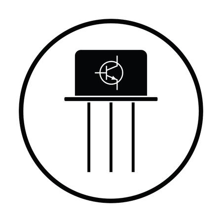 transistor: icono transistor. diseño del círculo delgada. Ilustración del vector.