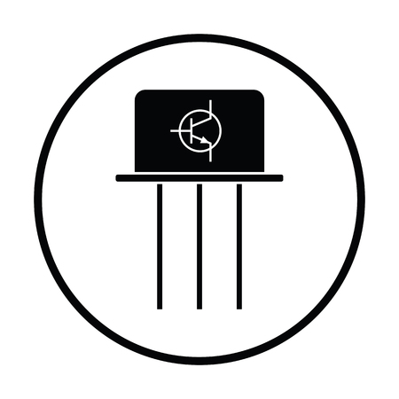 transistor: Transistor icon. Thin circle design. Vector illustration.
