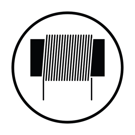 inductor: Inductor coil icon. Thin circle design. Vector illustration.