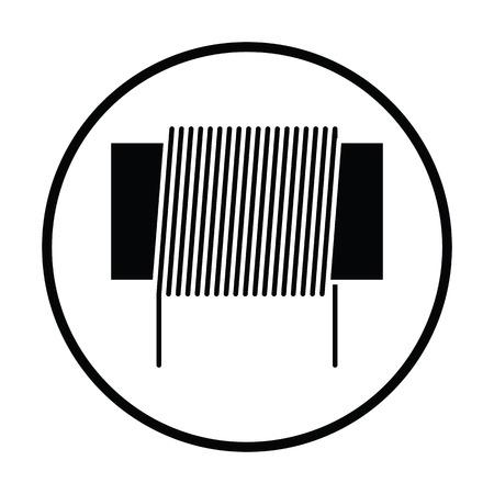 Inductor icône de bobine. cercle design mince. Vector illustration. Vecteurs