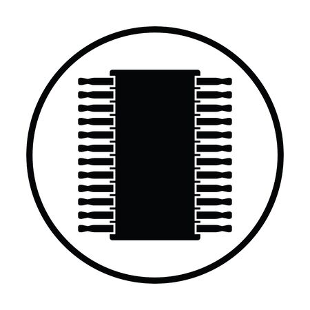 microelectronics: Chip icon. Thin circle design. Vector illustration.