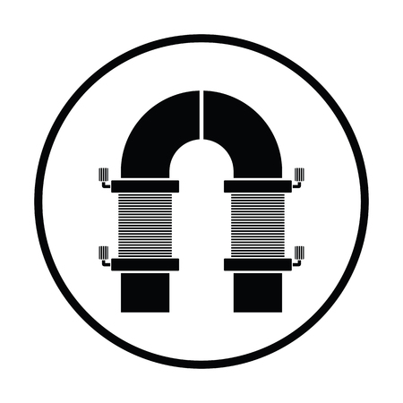 single coil: Electric magnet icon. Thin circle design. Vector illustration.