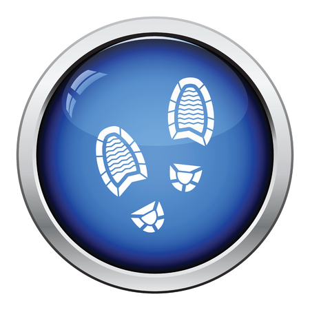 theft proof: Man footprint icon. Glossy button design. Vector illustration.