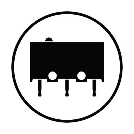 tact: Micro button icon icon. Thin circle design. Vector illustration.