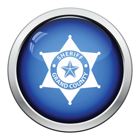 sheriff badge: Sheriff badge icon. Glossy button design. Vector illustration.