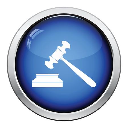 arbitrate: Judge hammer icon. Glossy button design. Vector illustration.