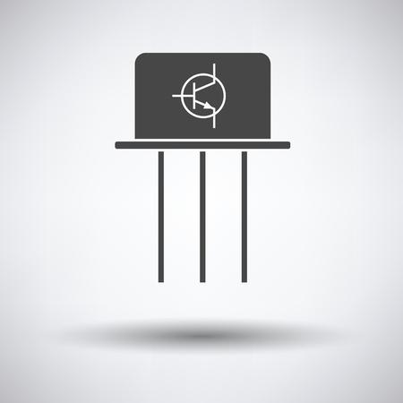 transistor: icono de transistor en fondo gris con la sombra redonda. Ilustraci�n del vector.