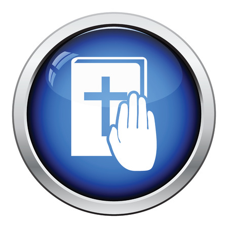 magistrate: Hand on Bible icon. Glossy button design. Vector illustration.