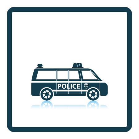 cop: Police van icon. Shadow reflection design. Vector illustration.