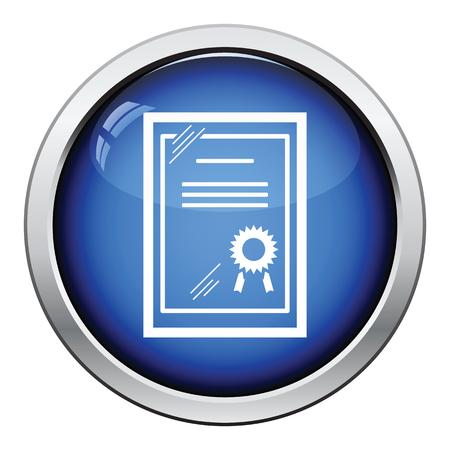 glass button: Certificate under glass icon. Glossy button design. Vector illustration. Illustration