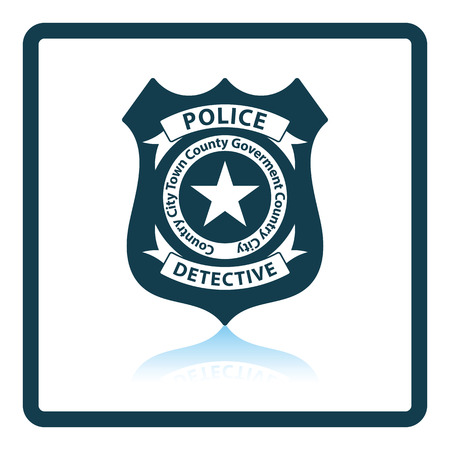 bobby: Police badge icon. Shadow reflection design. Vector illustration.