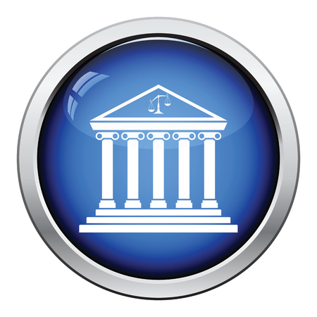 courthouse: Courthouse icon. Glossy button design. Vector illustration. Illustration