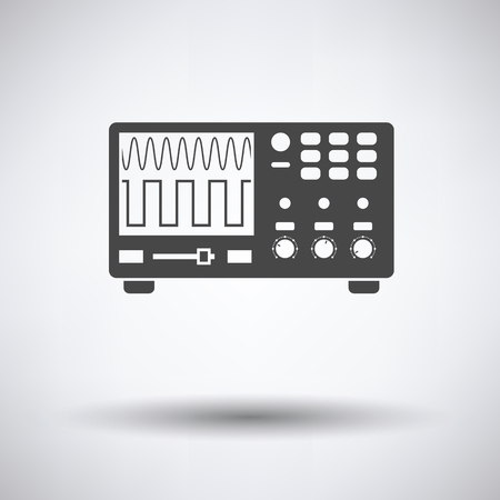 Oscilloscope icon on gray background with round shadow. Vector illustration. Vetores