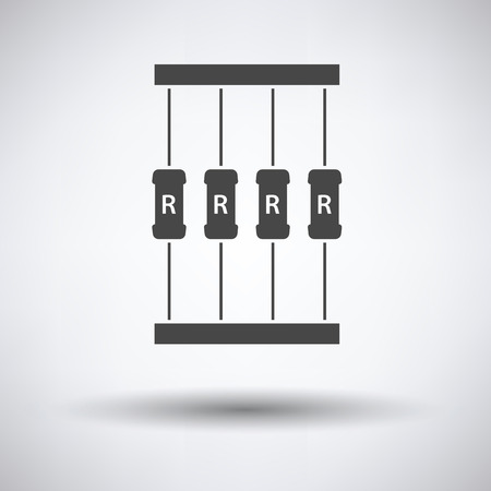 resistor: Resistor tape icon on gray background with round shadow. Vector illustration.
