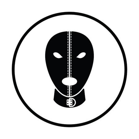 adults sex: mask icon. Thin circle design. Vector illustration.