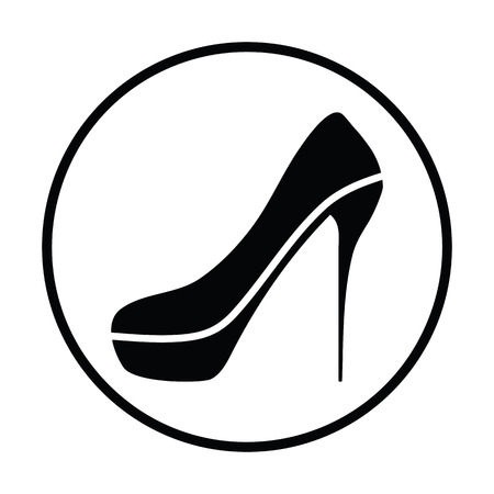heel strap: Sexy high heel shoe icon. Thin circle design. Vector illustration.