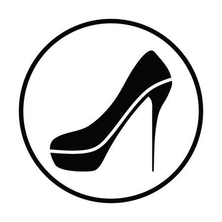 Sexy high heel shoe icon. Thin circle design. Vector illustration.