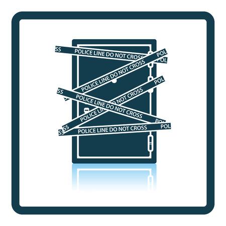 crime scene: Crime scene door icon. Shadow reflection design. Vector illustration. Illustration