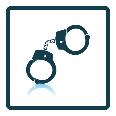 detainee: Police handcuff icon. Shadow reflection design. Vector illustration.