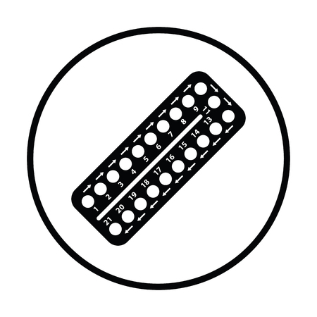 single whip: Contraceptive pil pack icon. Thin circle design. Vector illustration.