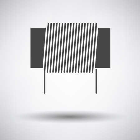 inductor: Inductor coil icon on gray background with round shadow. Vector illustration.