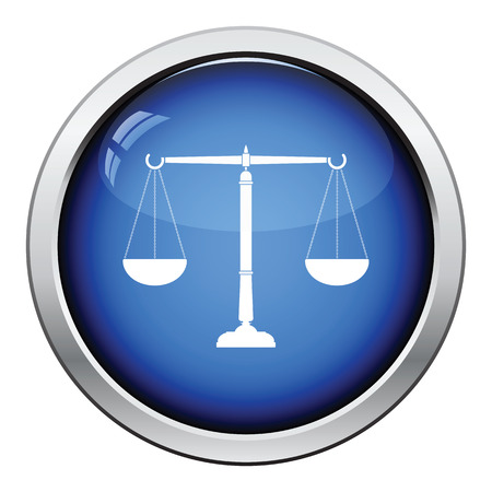 acquittal: Justice scale icon. Glossy button design. Vector illustration.