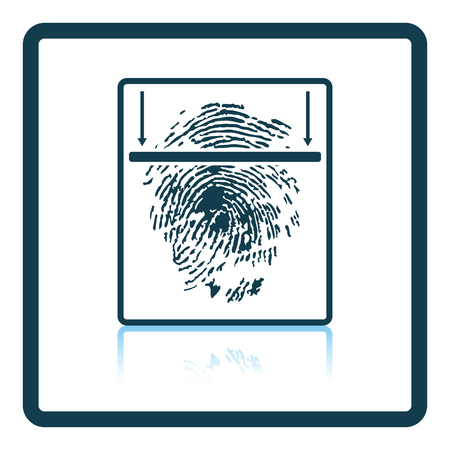thumb print: Fingerprint scan icon. Shadow reflection design. Vector illustration.