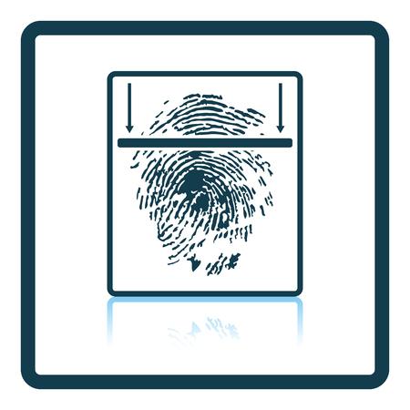 odcisk kciuka: Fingerprint scan icon. Shadow reflection design. Vector illustration.