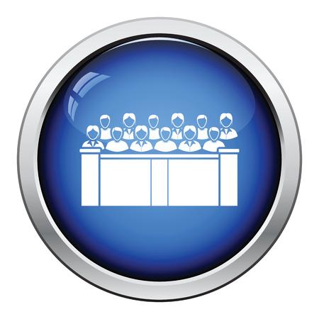 jurado: icono jurado. Diseño brillante del botón. Ilustración del vector. Vectores