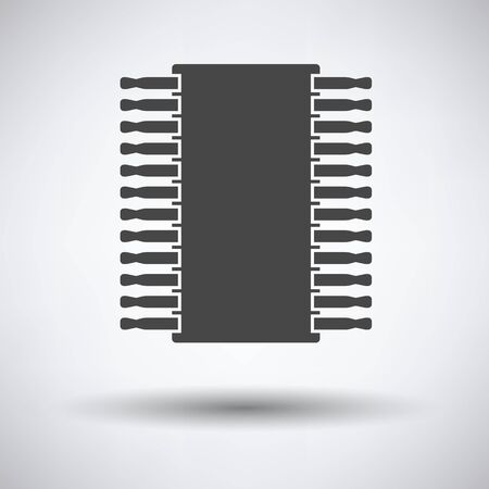 microelectronics: Chip icon on gray background with round shadow. Vector illustration.