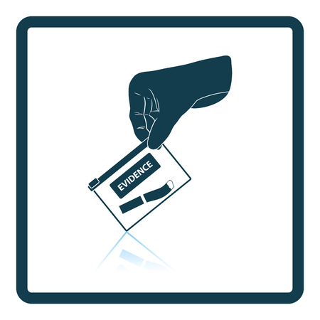 investigate: Hand holding evidence pocket icon. Shadow reflection design. Vector illustration.