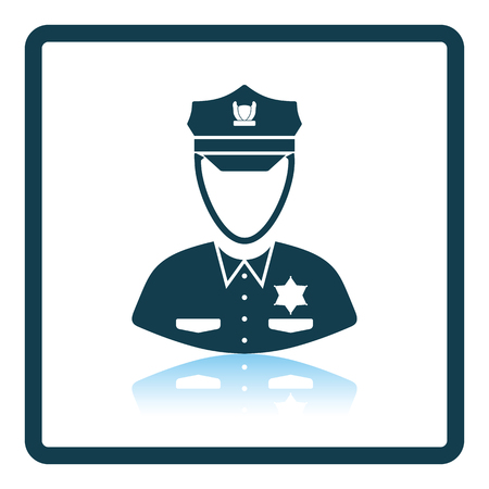 Policeman icon. Shadow reflection design. Vector illustration. Ilustrace