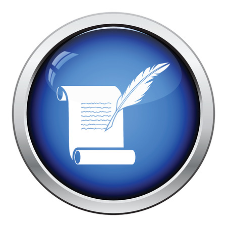 white feather: Feather and scroll icon. Glossy button design. Vector illustration. Vectores