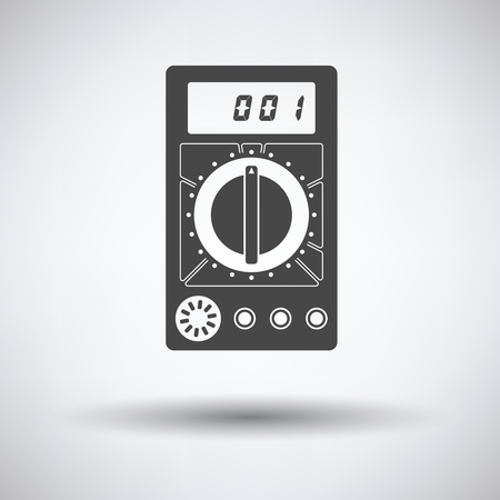 tester: Multimeter icon on gray background with round shadow. Vector illustration.