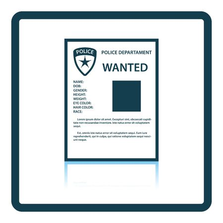 wanted poster: Wanted poster icon. Shadow reflection design. Vector illustration.