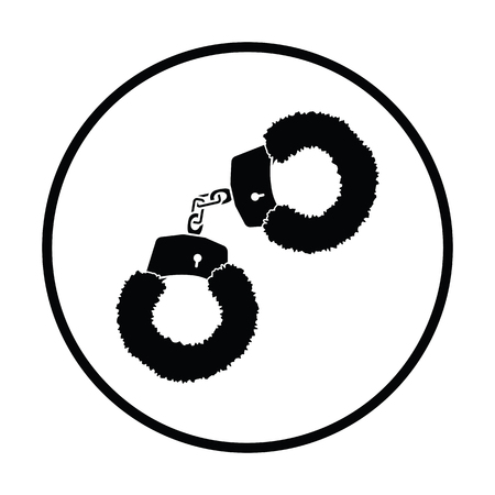 sexual pleasure: Sexy handcuffs with fur icon. Thin circle design. Vector illustration.