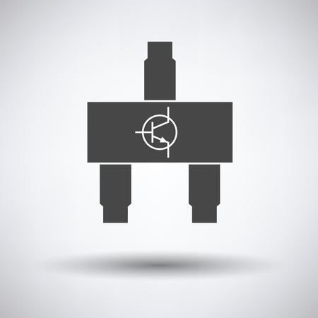 transistor: Smd transistor icon on gray background with round shadow. Vector illustration.