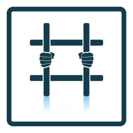 detention: Hands holding prison bars icon. Shadow reflection design. Vector illustration.