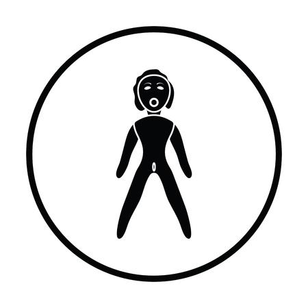 nude black woman: Sex dummy icon. Thin circle design. Vector illustration.