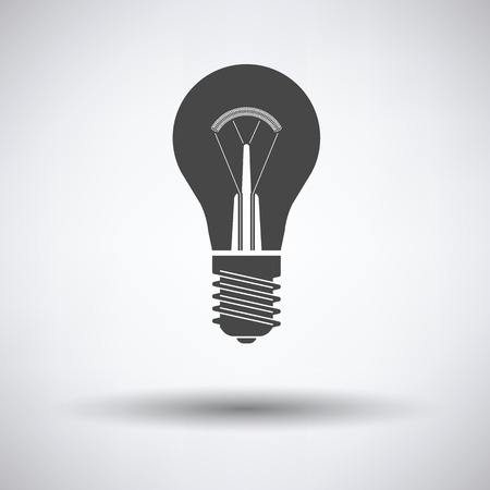 gray bulb: Electric bulb icon on gray background with round shadow. Vector illustration.