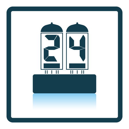 readout: Electric numeral lamp icon. Shadow reflection design. Vector illustration.