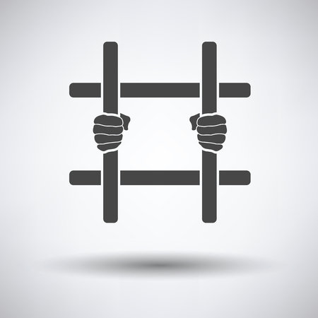 detention: Hands holding prison bars icon on gray background with round shadow. Vector illustration.