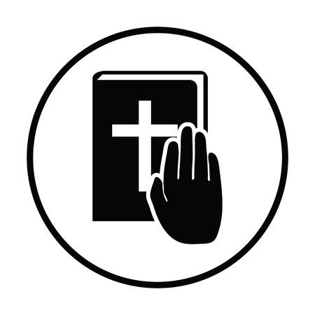 swear: Hand on Bible icon. Thin circle design. Vector illustration.