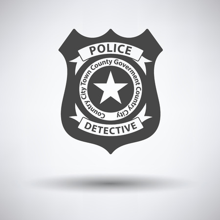 federal police: Police badge icon on gray background with round shadow. Vector illustration. Illustration